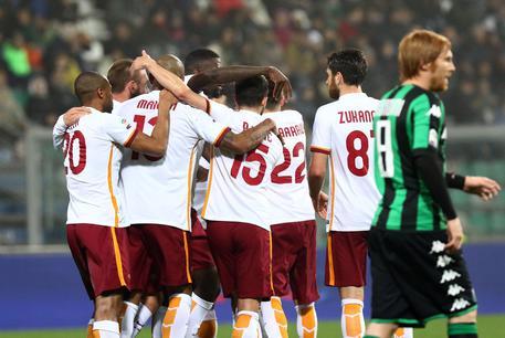 L'esultanza dei giocatori della Roma dopo il gol di Salah (fonte: http://www.ansa.it)