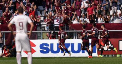 L'esultanza di Iago Falque dopo il gol del 2-0
